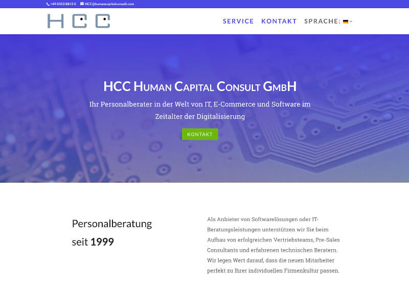 Internetseite HCC Personalberatung